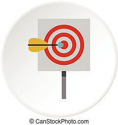 Red target and dart icon circle