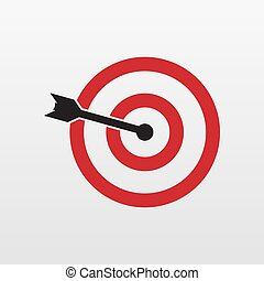Red Target icon isolated. Modern simple flat concentric aiming sign. Marketing, Business, internet concept. Trendy Simple vector symbol for website design, web button, mobile app. Logo illustration.