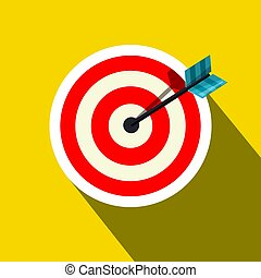 Red Target Icon with Arrow on Yellow Background. Vector Symbol with Long Shadow.