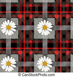 Red tartan plaid and daisy flowers pattern on checkered background for textile