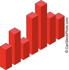 Red tax graph chart icon, isometric style