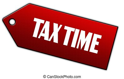 Red TAX TIME label.