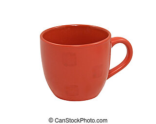 Red tea cup. Isolated