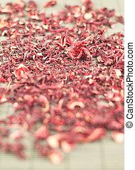 Red tea over bamboo mat