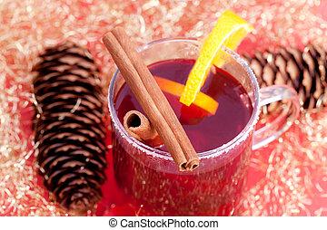 red tea with cinnamon sticks