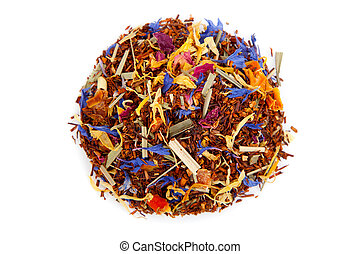 red tea with flower petals, on white background.