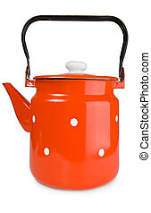 Red teapot isolated on a white background