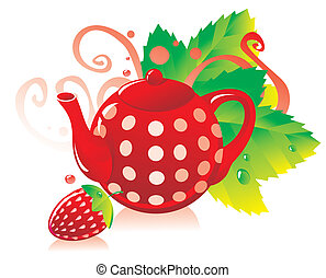 Red teapot with a strawberry