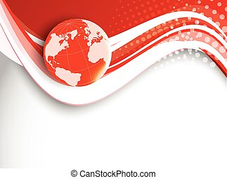 Red wavy background with globe. Vector illustration