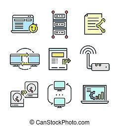 red, tecnología, icono, conjunto, color
