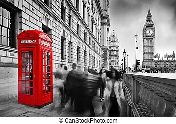 Red telephone booth and Big Ben in London, England, the UK. ...