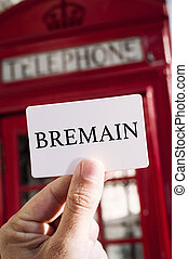 red telephone booth and text Bremain