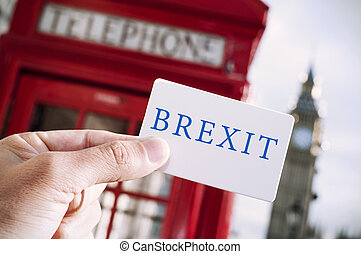 red telephone booth and text Brexit