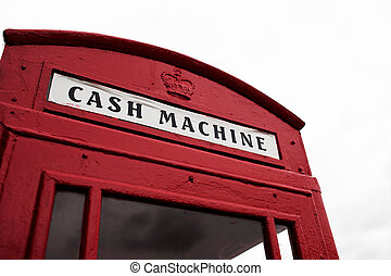 Red telephone booth converted to cash machine - Iconic...