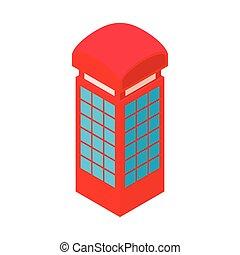 Red telephone box icon, cartoon style
