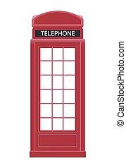 Red Telephone Box Icon Vector Illustration