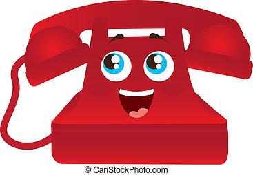 red telephone cartoon - red happy telephone cartoon with...