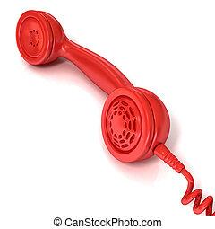 Red telephone handset, retro