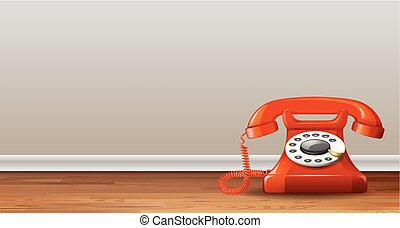 Red telephone on background