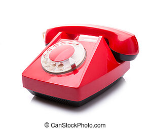 Red telephone on white