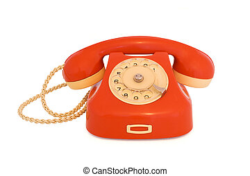 Red telephone - Red vintage telephone isolated