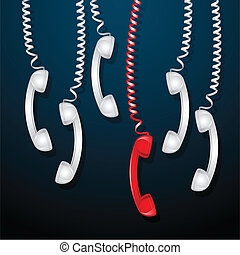 Red Telephone Receiver - illustration of hanging red...
