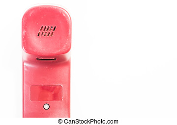 red telephone receiver on white isolated