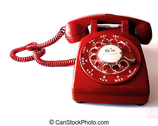 Red Telephone - Vintage red, rotary-dial telephone