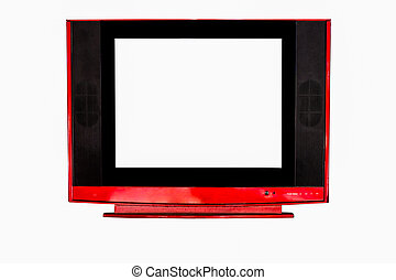 red television on isolated white close up