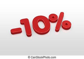 Red ten percent discount symbol