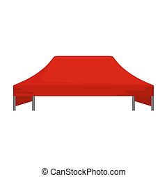 Red tent icon, flat style