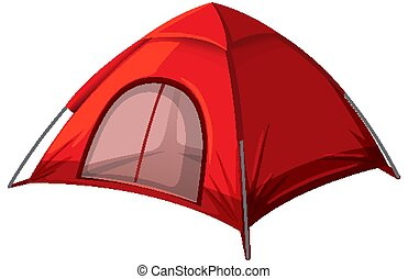 Red tent on white background