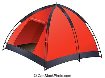 Red tent - Single red tent with the door opened