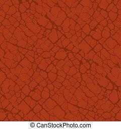 Red terracotta soil cracks seamless pattern. Vintage...