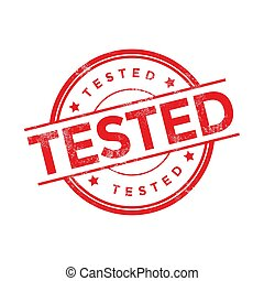 Red Tested rubber stamp isolated on white background.