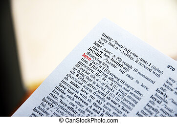 Red text LOVE focused in dictionary