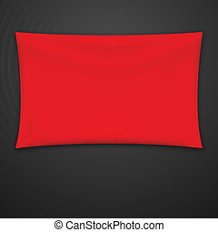 Red Textile Banner. Vector