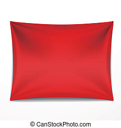 red textile banner with folds over white background
