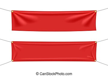 Red textile banners with folds set