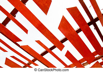 Red texture ceiling