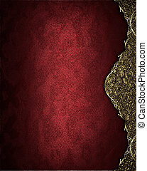 Red texture with gold edge. Template Design.