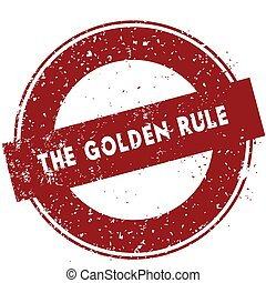 Red THE GOLDEN RULE rubber stamp illustration on white background