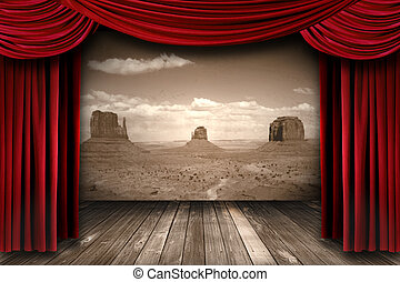 Red Theater Curtain Drapes With Desert Mountain Background -...