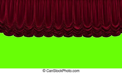 Red theater curtain in theater on green background