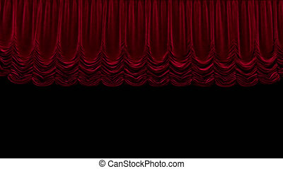 Red theater curtain in theater With alpha channel