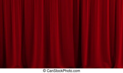 Red theater curtain open. With alpha channel