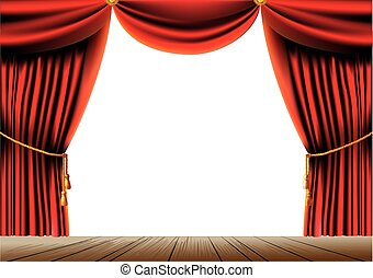 push the red theater curtain with tassels and cord and empty space in the center