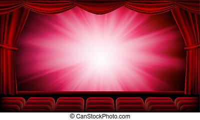 Red Theater Curtain Vector. Red Background. Theater, Opera Or Cinema Closed Scene. Banner, Placard, Poster Template. Realistic Red Drapes Illustration