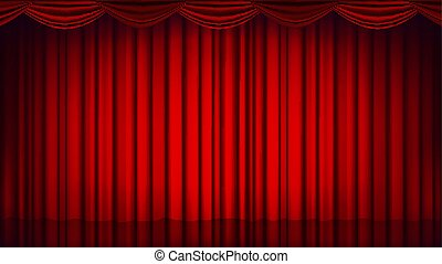Red Theater Curtain Vector. Theater, Opera Or Cinema Empty Silk Stage, Red Scene. Realistic Illustration