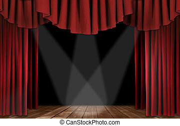 Red Theater Drapes With Triple Spotlight - Red Horozontal...